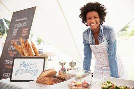 pic of stall  - Female Bakery Stall Holder At Farmers Fresh Food Market - JPG
