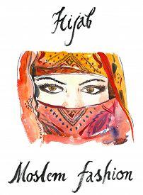 stock photo of yashmak  - Watercolor hand drawn arabian hijab  - JPG