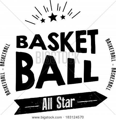 basketball all star icon vector vintage retro