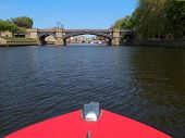 picture of u-boat  - Skeldergate Bridge over the river Ouse from boat in York U - JPG