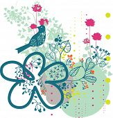 garden paradise with bird - background design