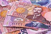 foto of nzd  - Detail of dollar notes in New Zealand currency - JPG