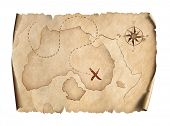 old pirates treasure scroll map isolated on white 3d illustration poster