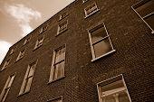 Brick Architecture In Sepia Color - Wide-Angle View poster