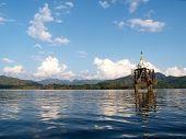 Temple under the water at  Sangkha Buri, Thailand