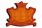 Carved Wooden Sign In Shape Of Crown