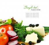 mixed vegetables on white background