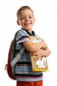 Schüler mit Büchern und Rucksack 2