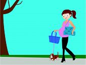 Mommy to be walking her dog, after shopping..