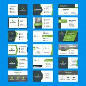 Set Of Modern Business Card Print Templates. Horizontal Business Cards. Green And Black Colors. Pers poster