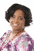 Beautiful African American Plus Size Female Model Headshot Isolated on White Background