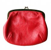 red vintage change purse isolated
