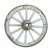 old wooden wheel isolated on white