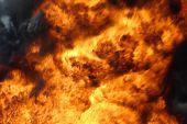 Big burning fire with black smoke