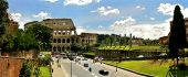 Panoramic view on ruins of famous Colosseum in Rome, Italy.