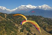 paragliding in nepal with view on himalaya (photo taken during paragliding)