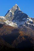 fishtail peak in the annapurna range in the himalaya in nepal