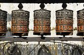 prayer wheels at swayambhunath temple in kathmandu, nepal