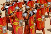 Roman soldiers fighting with spears during Roman show in Jerash, Jordan