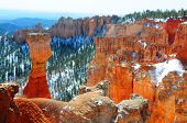 Hoodoo in Bryce canyon winter landscape