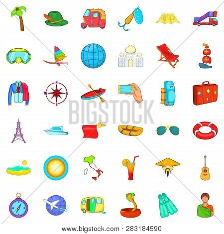 Travel Time Icons Set Cartoon