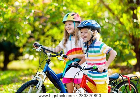 poster of Kids On Bike. Children On Bicycle. Child Biking.