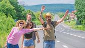 Friends Hitchhikers Travelling Sunny Day. Begin Great Adventure In Your Life With Hitchhiking. Compa poster
