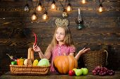 Kid Farmer With Harvest Wooden Background. Family Farm Festival Concept. Farm Themed Games And Activ poster