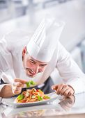 Chef In Restaurant Kitchen Prepares And Decorates Meal With Hands. Cook Preparing Spaghetti Bolognes poster