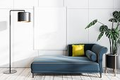 White Living Room With Sofa And Poster poster