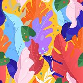 Creative Contemporary Floral Seamless Pattern. Collage. Vector Exotic Jungle Plants Illustration. Me poster