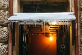 Icicles Hang From A Canopy And Can Fall On Peoples Heads, Dangerous Icicles/ The Entrance Porch, Fro poster