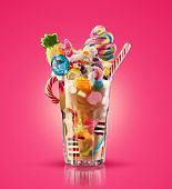 Monster Shake, Freak Caramel Shake Isolated. Colourful, Festive Milk Shake Cocktail With Sweets, Jel poster
