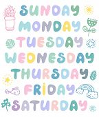 Hand Drawn Vector Weekdays And Elements For Notebook, Diary, Calendar, Schedule, Sticker, Bullet Jou poster