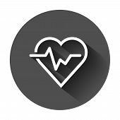 Heartbeat Line With Heart Icon In Flat Style. Heartbeat Illustration With Long Shadow. Heart Rhythm  poster