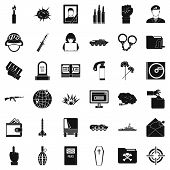 Internet War Icons Set. Simple Style Of 36 Internet War Icons For Web Isolated On White Background poster