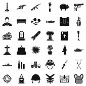 War Gun Icons Set. Simple Style Of 36 War Gun Icons For Web Isolated On White Background poster