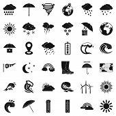 Rainy Weather Icons Set. Simple Style Of 36 Rainy Weather Icons For Web Isolated On White Background poster