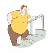 Vector Flat Overweight Obese Unhappy Man Sweating poster