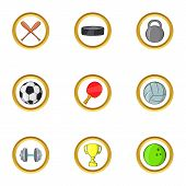 Cool Sport Icon Set. Cartoon Set Of 9 Cool Sport Icons For Web Isolated On White Background poster