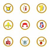 Medieval Army Icon Set. Cartoon Set Of 9 Medieval Army Icons For Web Isolated On White Background poster