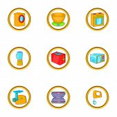 Appliances Icon Set. Cartoon Set Of 9 Appliances Icons For Web Isolated On White Background poster
