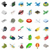 War Icons Set. Isometric Style Of 36 War Icons For Web Isolated On White Background poster