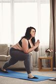 Flexibility, Grace, Good Mood, Healthy Lifestyle, Vitality. Yoga Workout For Women. Overweight Woman poster