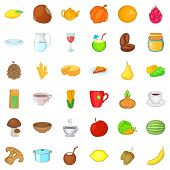 Vegetarian Cook Icons Set. Cartoon Style Of 36 Vegetarian Cook Ector Icons For Web Isolated On White poster