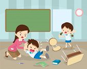 Teacher Handle Angry Boy,tracher Have Worry With Rampage Angry Boy.aggressive Children In Classroom poster