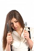 beautiful woman with knife and fork, food photo