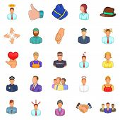 Labor Resources Icons Set. Cartoon Set Of 25 Labor Resources Icons For Web Isolated On White Backgro poster