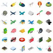 Long War Icons Set. Isometric Style Of 36 Long War Icons For Web Isolated On White Background poster