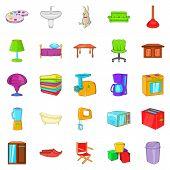 Piece Of Furniture Icons Set. Cartoon Set Of 25 Piece Of Furniture Icons For Web Isolated On White B poster
